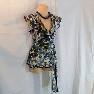 Axcess Floral Sashy Frilly Wrap Blouse Size M LN